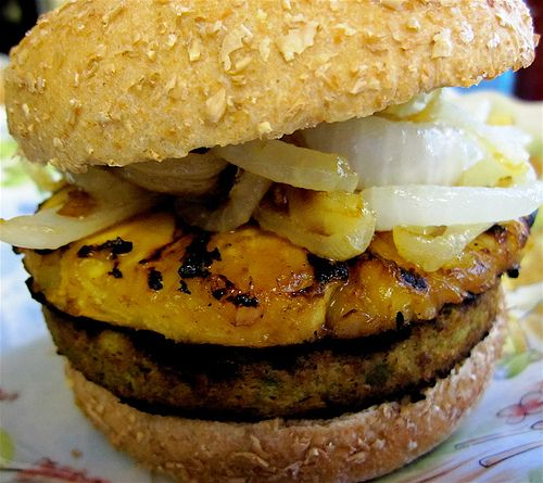 Jamaican Burger with Pinapple & caramilized onions