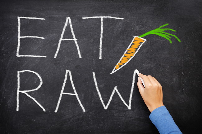 EAT RAW words written on blackboard - new trend in nutrition. Th