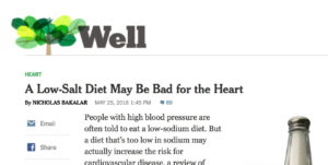 The New York Times Published Several Articles Questioning the Link Between Salt and Health